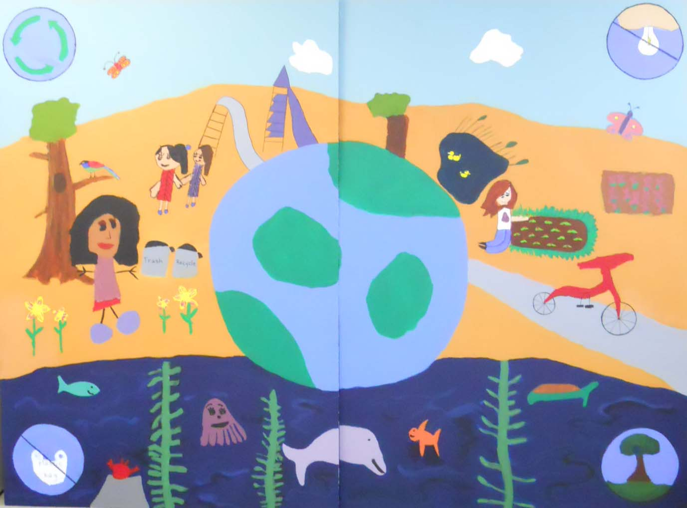 Cool the earth mural at lynwood elementary youth in arts for Earthrise mural
