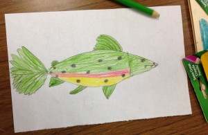 Observation drawing from a toy fish.