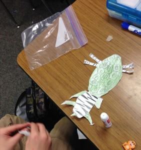 Assembling a new creature from observation drawings.