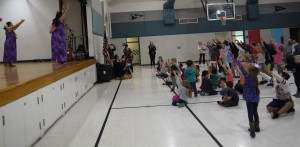 """Shawna leads the students in their """"Moana Dance"""""""