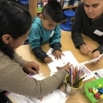families working together with young readers
