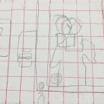 Students manually layout their portrait using grids