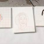 Students layer paint on top of their grids and drawings